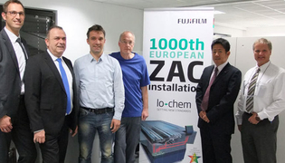 Fujifilm marks the 1000th installation of their 'lo-chem' system - FLH-Z 'ZAC' for Brillia HD LH-PLE plates, produced by Glunz & Jensen.